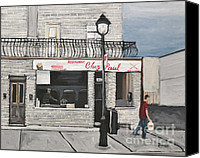 Montreal Restaurants Canvas Prints - Restaurant Chez Paul Pointe St. Charles Canvas Print by Reb Frost