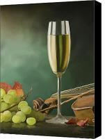 Oil Wine Canvas Prints - Restaurant menu paintings Canvas Print by Michael Greenaway