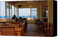 Talking Canvas Prints - Restaurant on a beach in Tel Aviv Israel Canvas Print by Zalman Lazkowicz