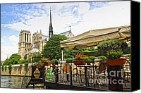 Notre Dame Canvas Prints - Restaurant on Seine Canvas Print by Elena Elisseeva