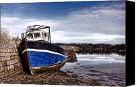 Tide Canvas Prints - Retired Boat Canvas Print by Olivier Le Queinec