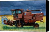 Farm Equipment Canvas Prints - Retired Combine Awaiting A Storm Canvas Print by Doug Strickland