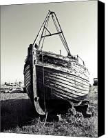 Old Town Digital Art Canvas Prints - Retired fishing boat Canvas Print by Sharon Lisa Clarke