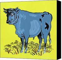 Cow Mixed Media Canvas Prints - Retro Bull Canvas Print by Sonja Olson