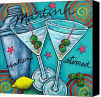 Lemon Painting Canvas Prints - Retro Martini Canvas Print by Lisa  Lorenz