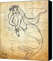 Bubbles Drawings Canvas Prints - Retro Mermaid Canvas Print by Rosalie Scanlon
