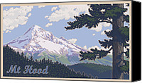 1930s Canvas Prints - Retro Mount Hood Canvas Print by Mitch Frey