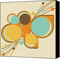 Icon  Mixed Media Canvas Prints - Retro Pattern Canvas Print by Setsiri Silapasuwanchai
