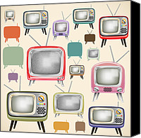 Electric Canvas Prints - retro TV pattern  Canvas Print by Setsiri Silapasuwanchai