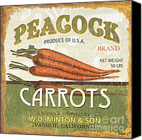 Eat Canvas Prints - Retro Veggie Label 2 Canvas Print by Debbie DeWitt