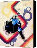 70s Canvas Prints - Retro Vespa Scooter Canvas Print by Michael Tompsett