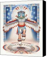 Native Drawings Canvas Prints - Return of the Blue Star Kachina - Alignment 2012 Canvas Print by Amy S Turner