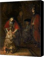 Oil  Canvas Prints - Return of the Prodigal Son Canvas Print by Rembrandt Harmenszoon van Rijn