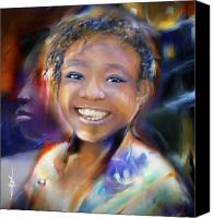 Haitian Canvas Prints - Returning A Smile Canvas Print by Bob Salo
