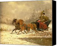 Country Scenes Painting Canvas Prints - Returning Home in Winter Canvas Print by Charles Ferdinand De La Roche