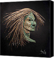 Portraits Reliefs Canvas Prints - Revealed Canvas Print by Adam Long