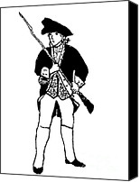 Colonial Man Digital Art Canvas Prints - Revolutionary War Militia Man Canvas Print by Susan Carella