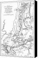 Manhattan Map Canvas Prints - Revolutionary War Plan Canvas Print by Granger