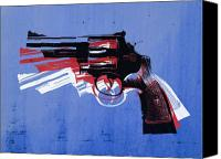 Gun Canvas Prints - Revolver on Blue Canvas Print by Michael Tompsett