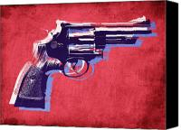 Gun Canvas Prints - Revolver on Red Canvas Print by Michael Tompsett