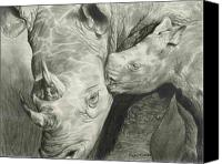 Mother Drawings Canvas Prints - Rhino Love Canvas Print by Carla Kurt
