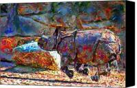Marilyn Sholin Canvas Prints - Rhino on the Run Canvas Print by Marilyn Sholin