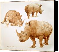 Rhinocerus Painting Canvas Prints - Rhinos Canvas Print by Ricardo Morales-Hendry