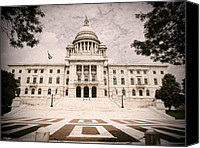 Statehouse Canvas Prints - Rhode Island State House Canvas Print by Lourry Legarde