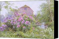 Purple Flowers Canvas Prints - Rhododendrons by a watermill Canvas Print by George Marks