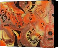 Jazz Instruments Mixed Media Canvas Prints - Rhythm and Intrigue Canvas Print by Shellton Tremble