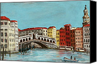 Water Pastels Canvas Prints - Rialto Bridge Canvas Print by Anastasiya Malakhova