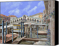 Venice - Italy Canvas Prints - Rialto dal lato opposto Canvas Print by Guido Borelli