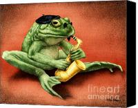 Saxaphone Painting Canvas Prints - Ribbit Riff... Canvas Print by Will Bullas