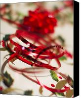 Red Glass Art Canvas Prints - Ribbon Curls Canvas Print by Rebecca Cozart