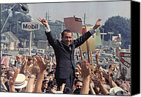 Election Canvas Prints - Richard M. Nixon Campaigning Canvas Print by Everett