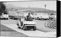Clemente Canvas Prints - Richard Nixon Driving A Golf Cart Canvas Print by Everett