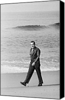 San Clemente Canvas Prints - Richard Nixon Walking On The Beach Canvas Print by Everett
