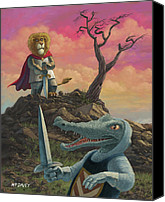 Sword Cartoon Canvas Prints - Richard of lionheart Canvas Print by Martin Davey