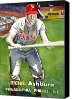 Phillies Drawings Canvas Prints - Richie Ashburn Topps Canvas Print by Robert  Myers
