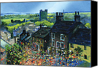 Bunting Painting Canvas Prints - Richmond Carnival in Frenchgate Canvas Print by Neil McBride