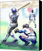 Baseball Drawings Canvas Prints - Rick Monday Canvas Print by Mel Thompson