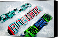 Snowboard Canvas Prints - RIDE IN POWDER snowboard graphics in the snow Canvas Print by Andy Smy