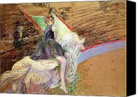 Equestrian Pastels Canvas Prints - Rider on a White Horse Canvas Print by Henri de Toulouse Lautrec
