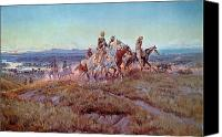 Old West Canvas Prints - Riders of the Open Range Canvas Print by Charles Marion Russell
