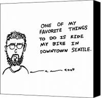 Seattle Drawings Canvas Prints - Riding My Bike Comic Canvas Print by Karl Addison