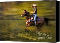 Equus. Hat Canvas Prints - Riding Thru The Meadow Canvas Print by Susan Candelario