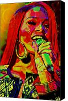 Hairstyle Mixed Media Canvas Prints - Rihanna 2 Canvas Print by Byron Fli Walker