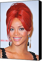 Updo Canvas Prints - Rihanna At A Public Appearance For Dkms Canvas Print by Everett