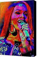 Celebrity Mixed Media Canvas Prints - Rihanna  Canvas Print by Byron Fli Walker