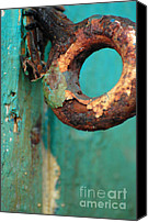 Turquoise And Rust Canvas Prints - Rings of Rust and Blue Canvas Print by AdSpice Studios
